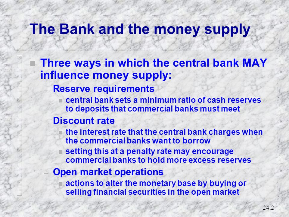 The Bank and the money supply