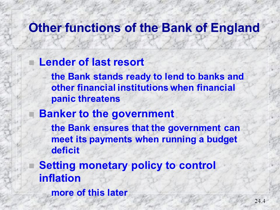Other functions of the Bank of England