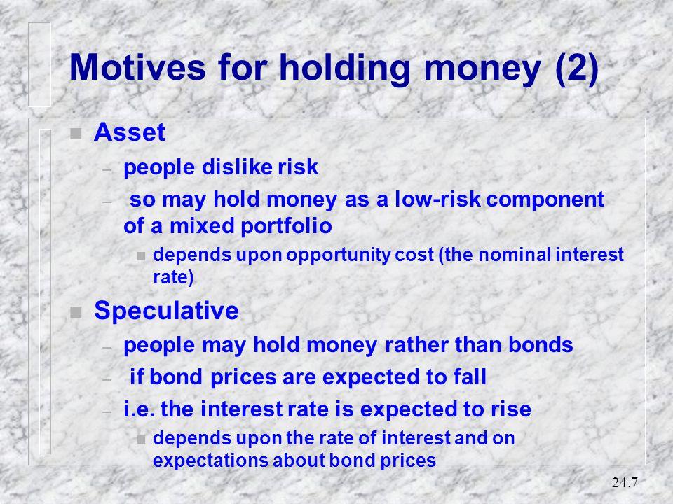 Motives for holding money (2)