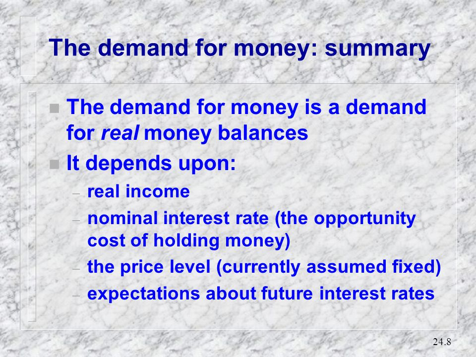 The demand for money: summary