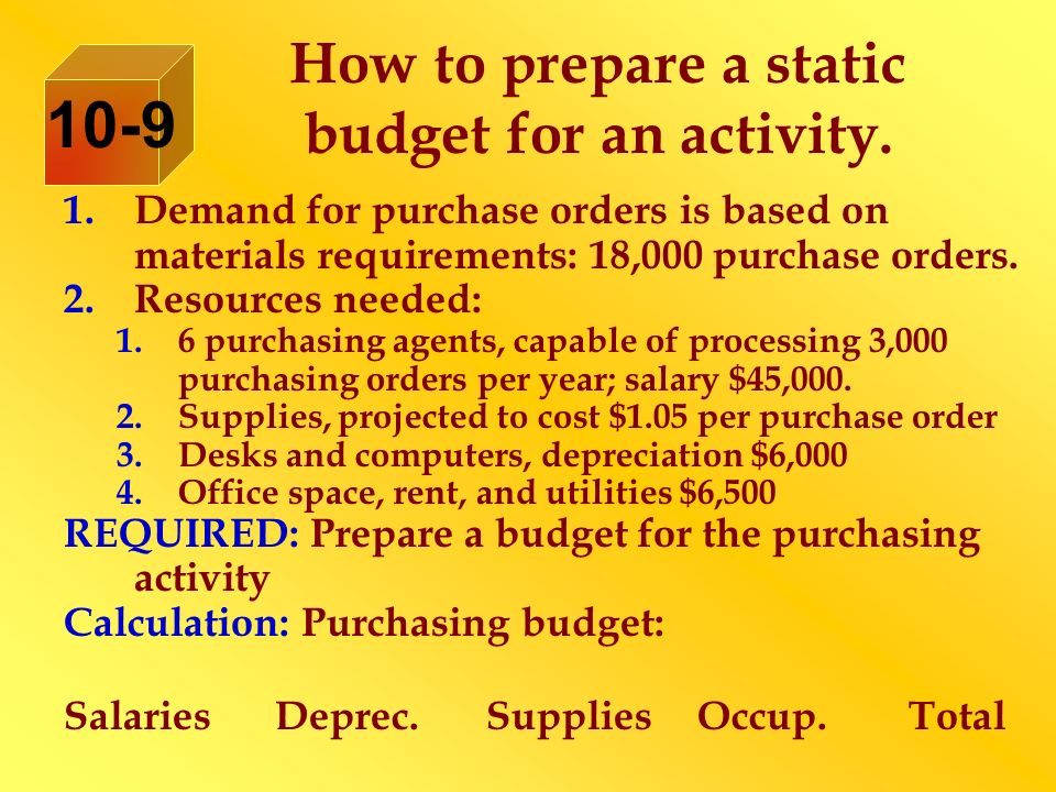 How to prepare a static budget for an activity.