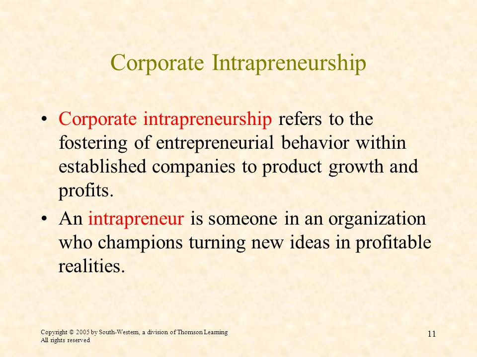Corporate Intrapreneurship