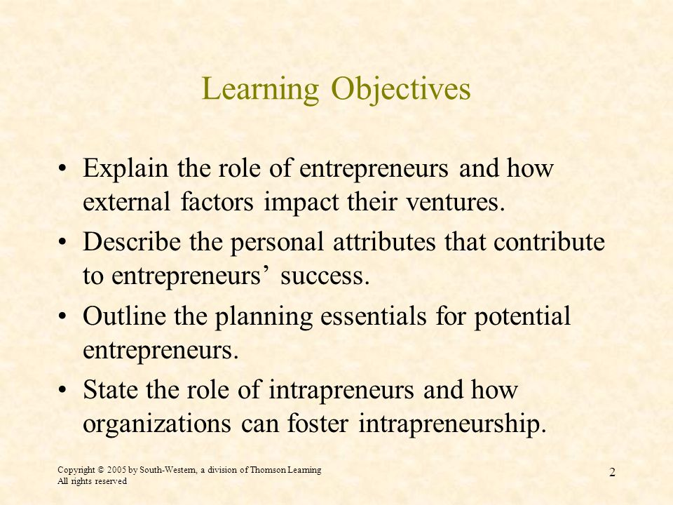 Learning Objectives Explain the role of entrepreneurs and how external factors impact their ventures.