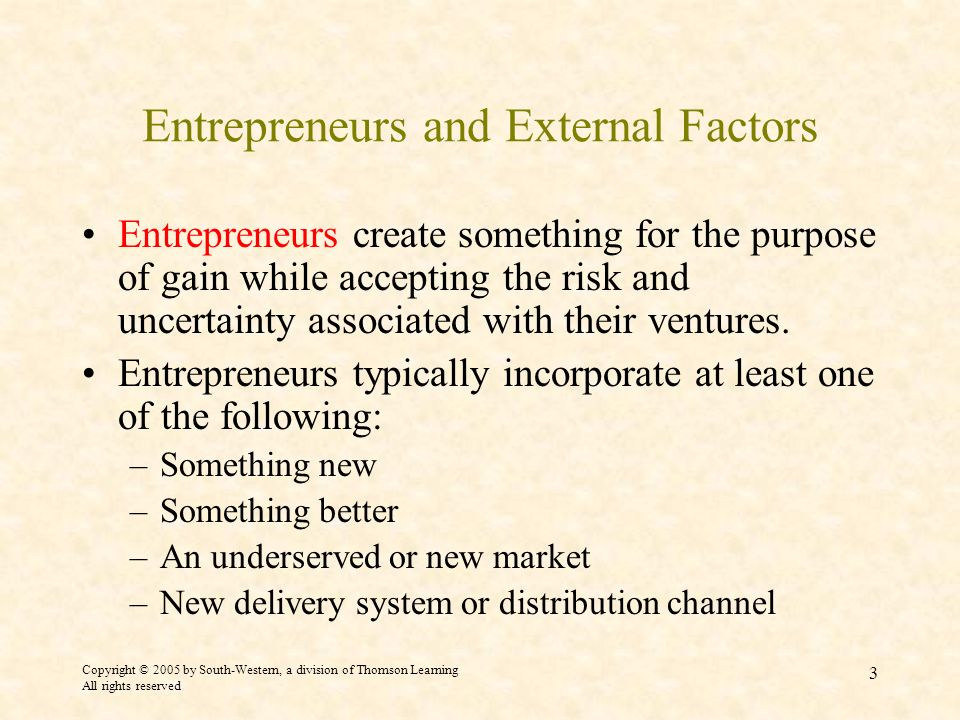 Entrepreneurs and External Factors