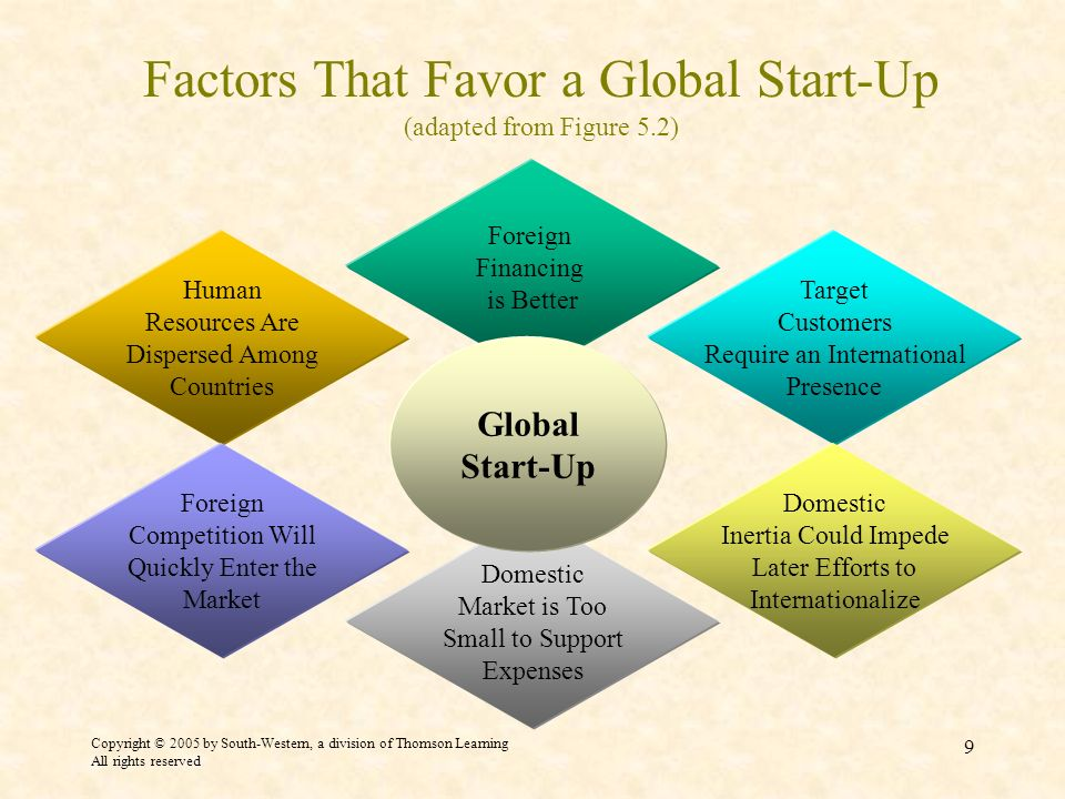 Factors That Favor a Global Start-Up (adapted from Figure 5.2)
