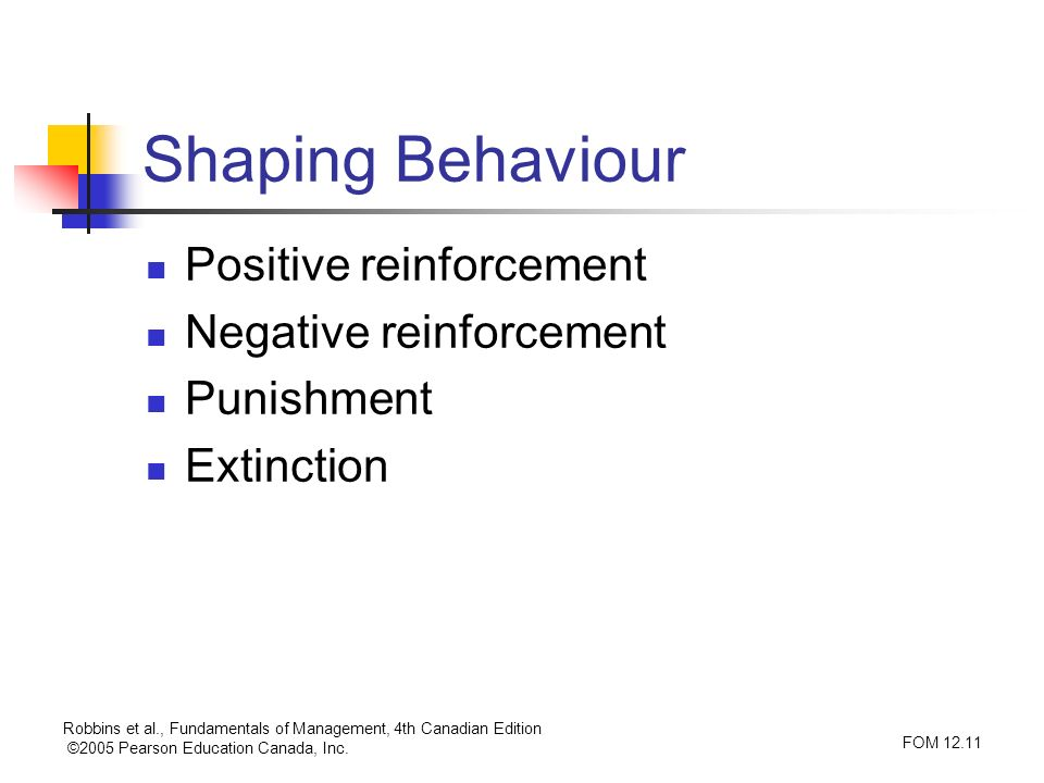 Shaping Behaviour Positive reinforcement Negative reinforcement