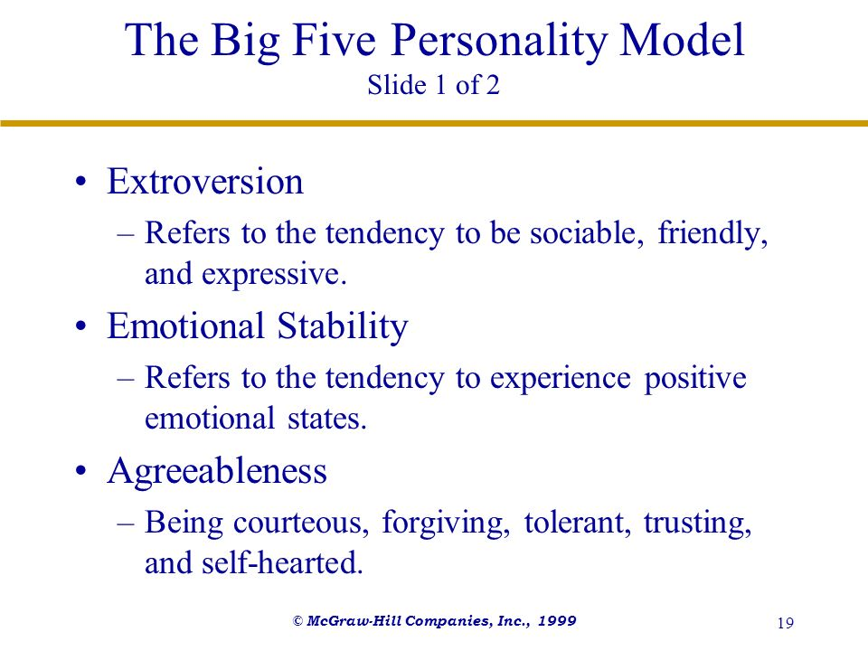 The Big Five Personality Model Slide 1 of 2