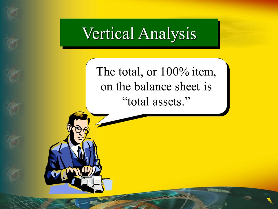 The total, or 100% item, on the balance sheet is total assets.