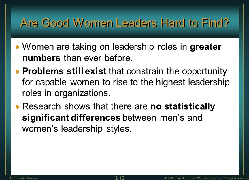 Are Good Women Leaders Hard to Find