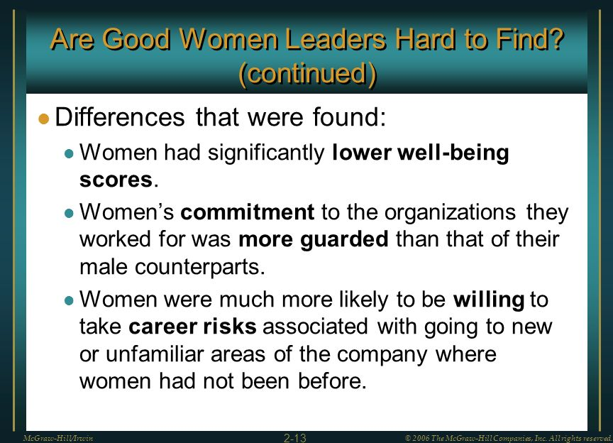 Are Good Women Leaders Hard to Find (continued)