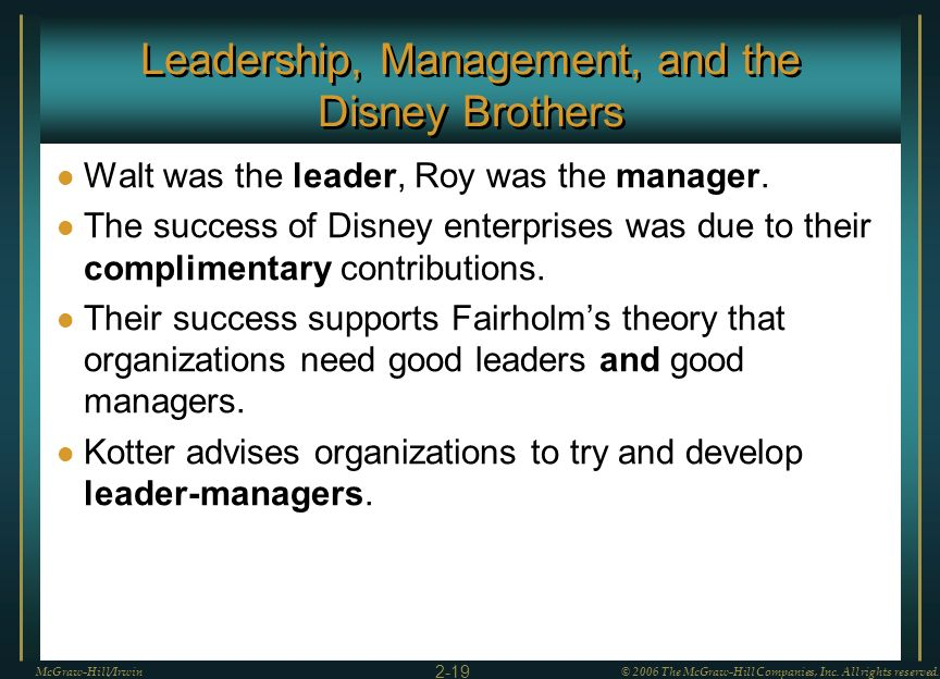 Leadership, Management, and the Disney Brothers