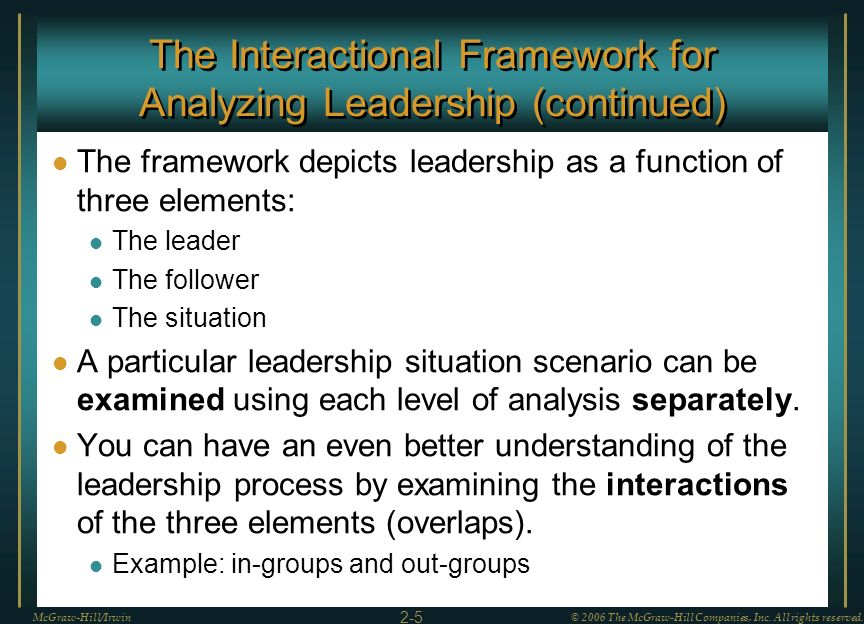 The Interactional Framework for Analyzing Leadership (continued)
