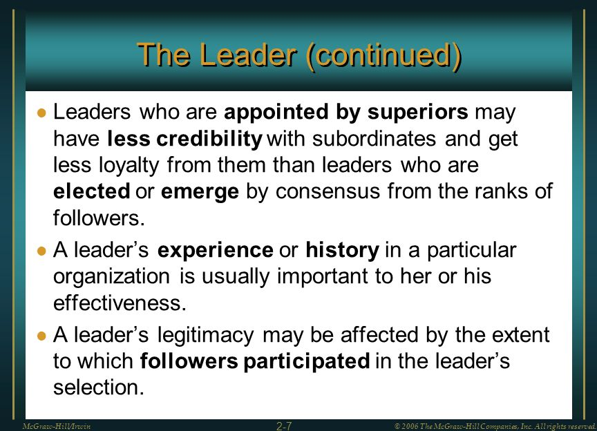 The Leader (continued)
