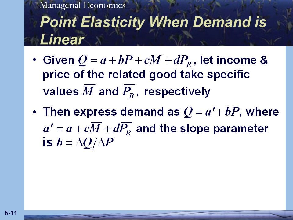 Point Elasticity When Demand is Linear