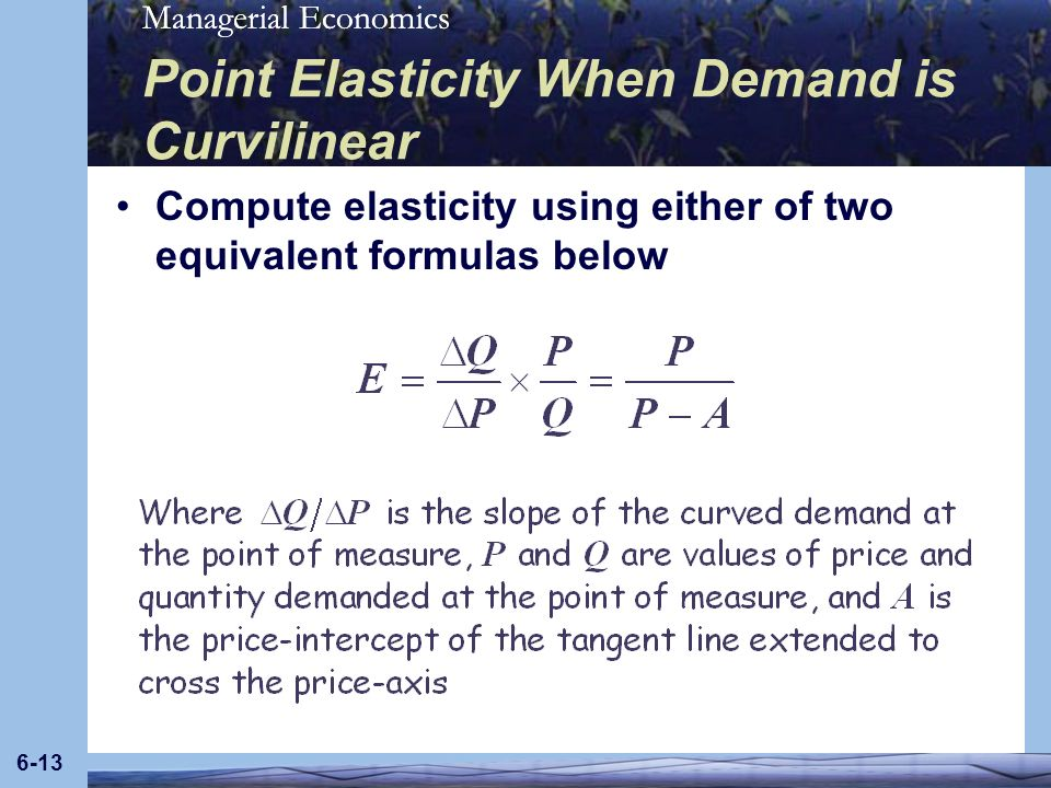 Point Elasticity When Demand is Curvilinear