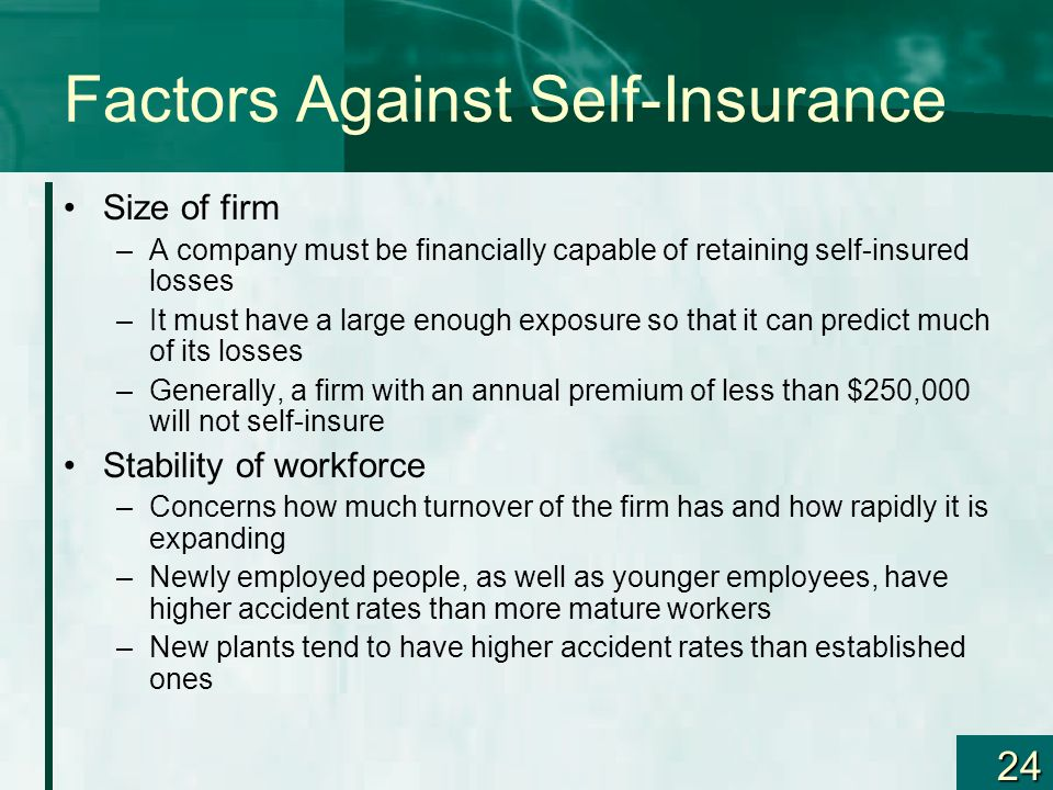 Factors Against Self-Insurance
