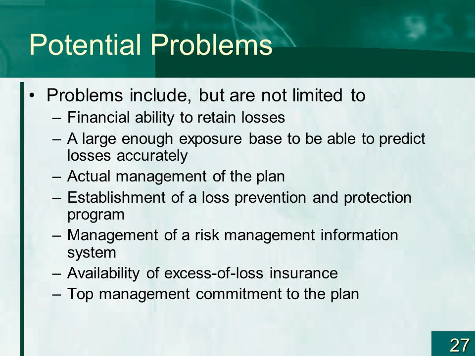 Potential Problems Problems include, but are not limited to