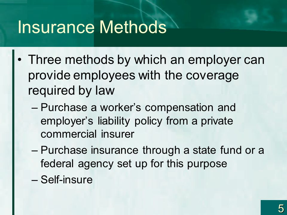 Insurance Methods Three methods by which an employer can provide employees with the coverage required by law.