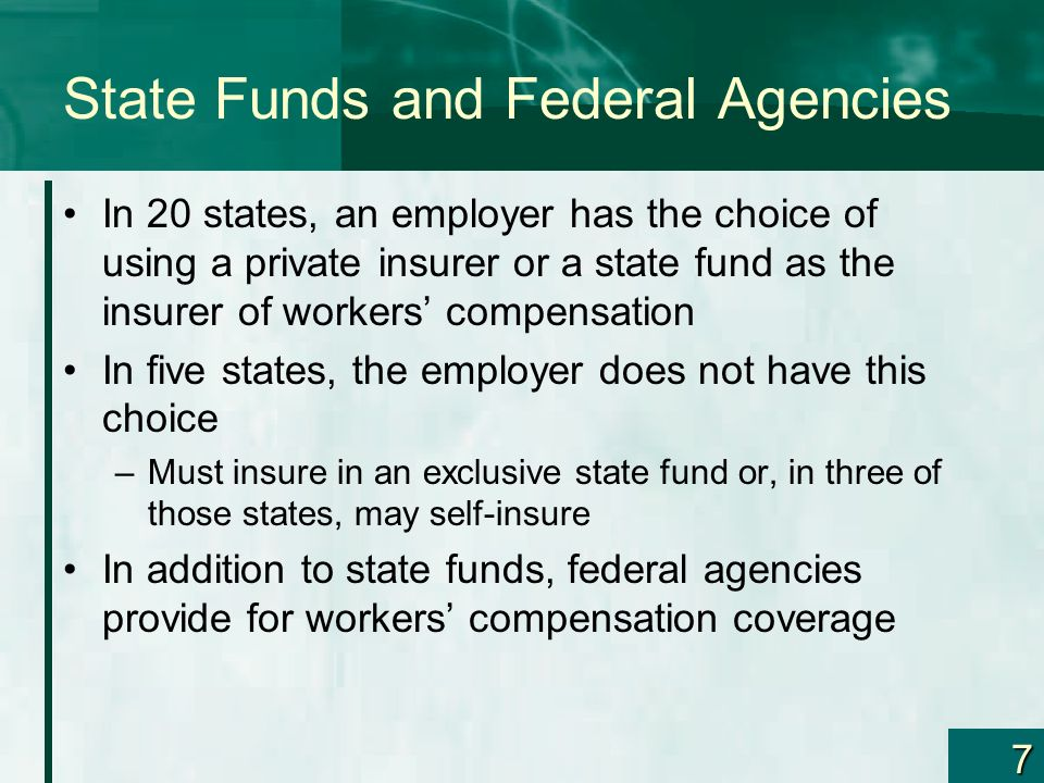State Funds and Federal Agencies