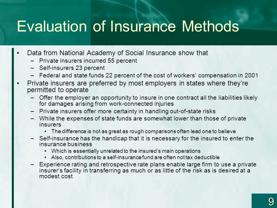 Evaluation of Insurance Methods