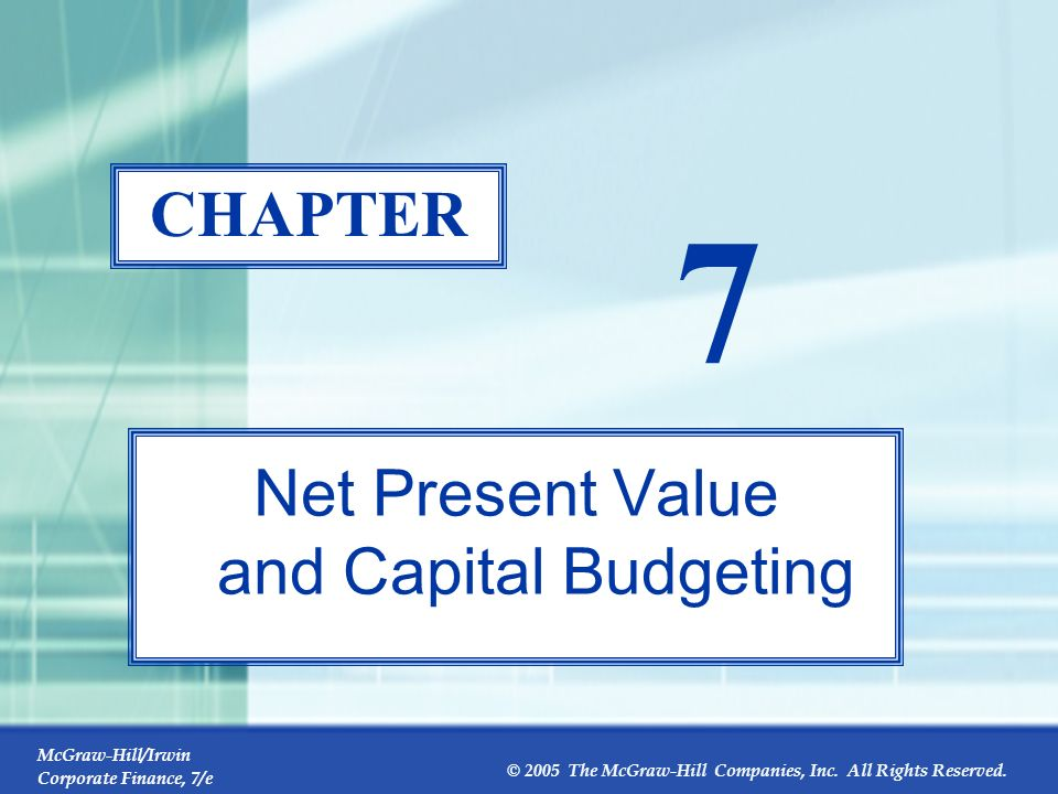 Net Present Value and Capital Budgeting
