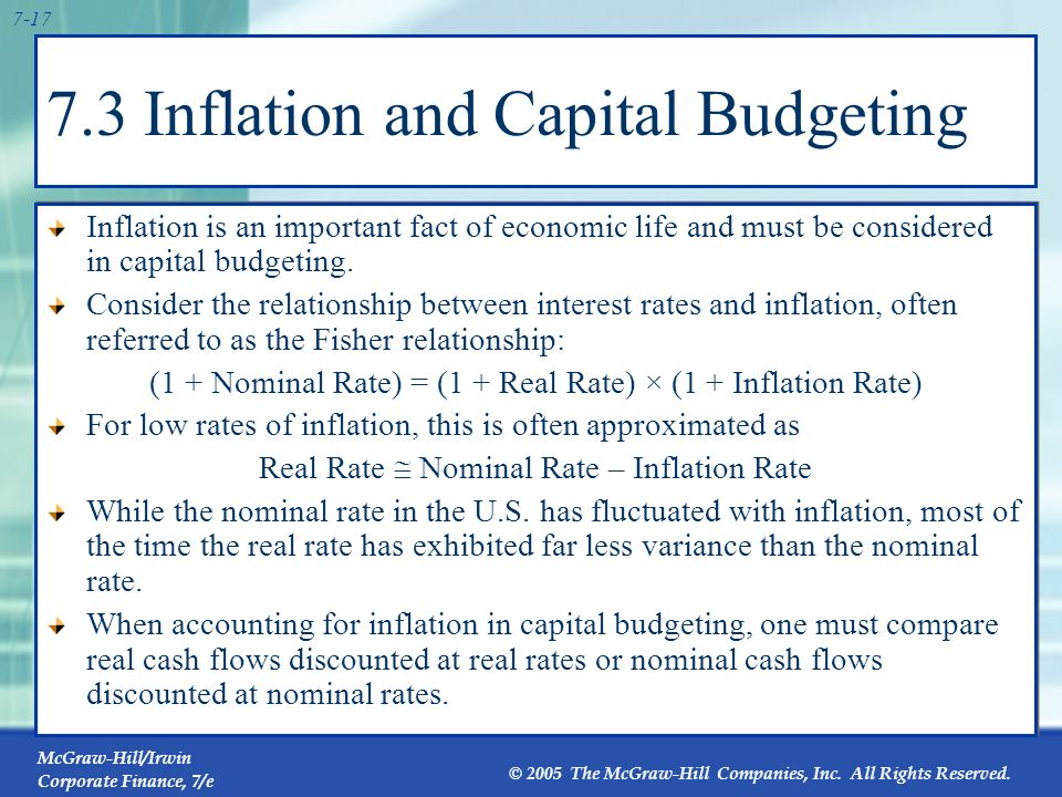 7.3 Inflation and Capital Budgeting