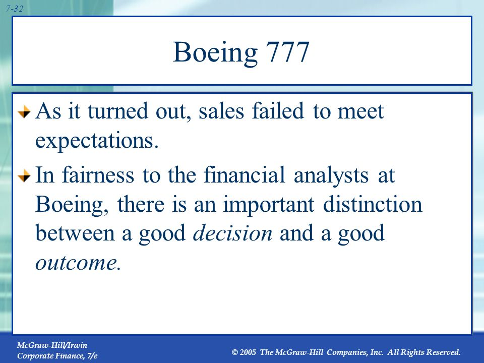 Boeing 777 As it turned out, sales failed to meet expectations.