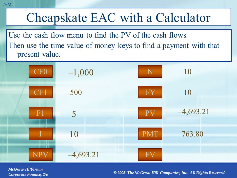Cheapskate EAC with a Calculator