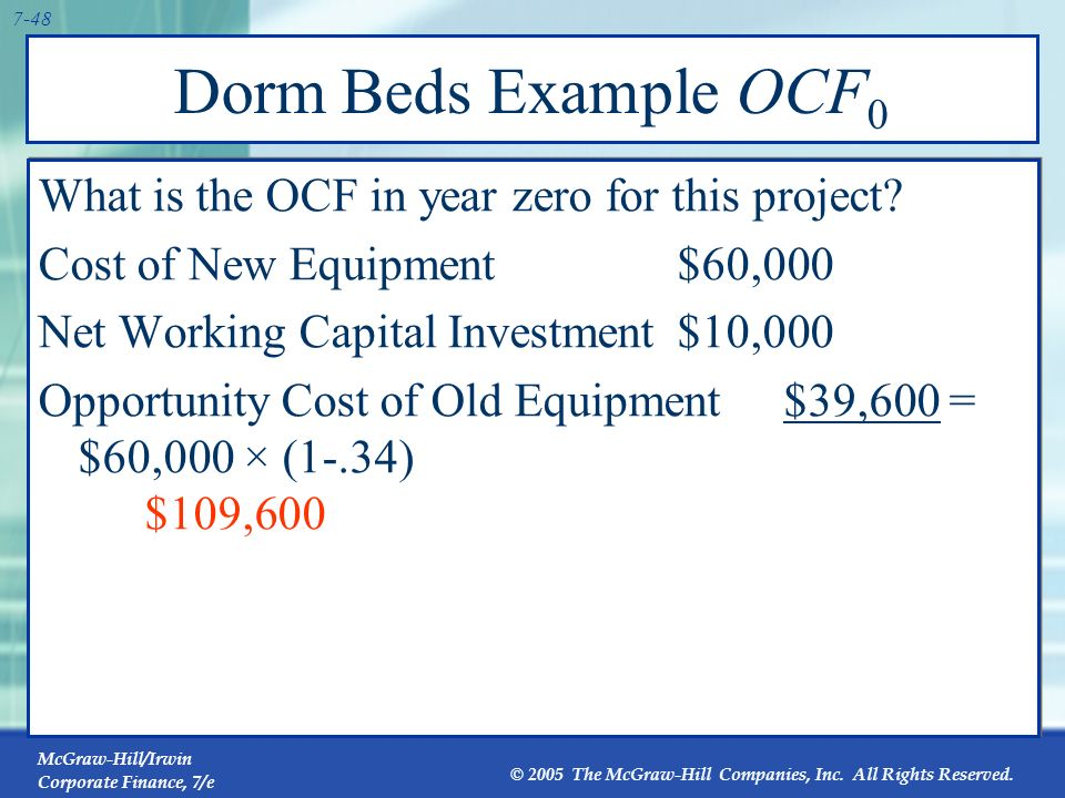 Dorm Beds Example OCF0 What is the OCF in year zero for this project