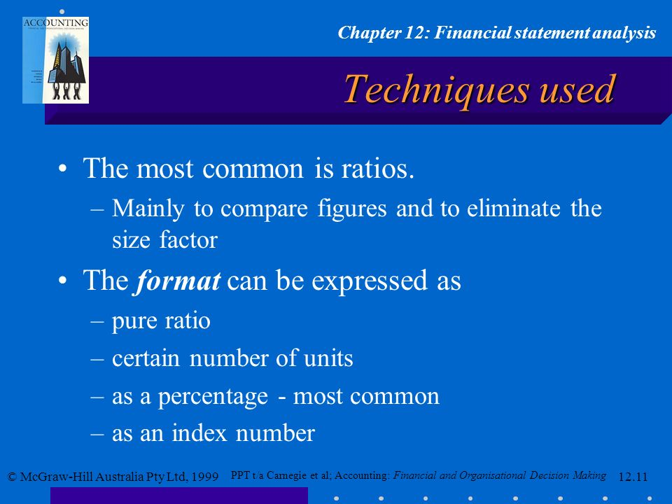 Techniques used The most common is ratios.