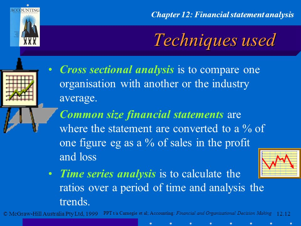 Techniques used Cross sectional analysis is to compare one organisation with another or the industry average.