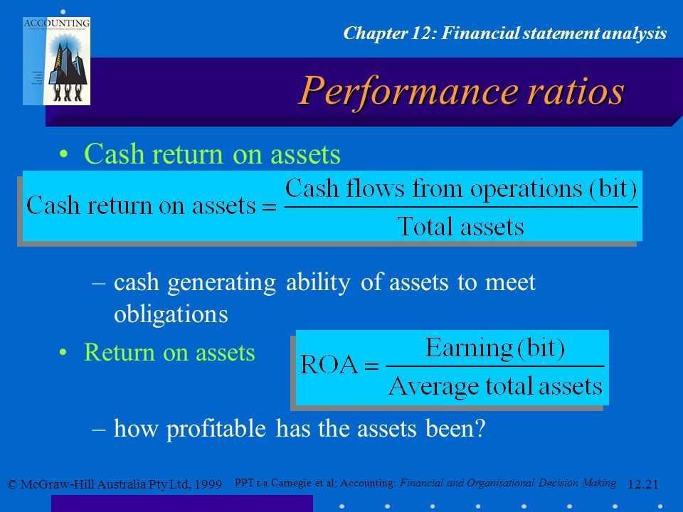 Performance ratios Cash return on assets