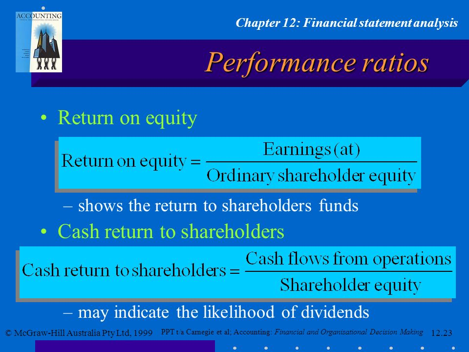 Performance ratios Return on equity Cash return to shareholders