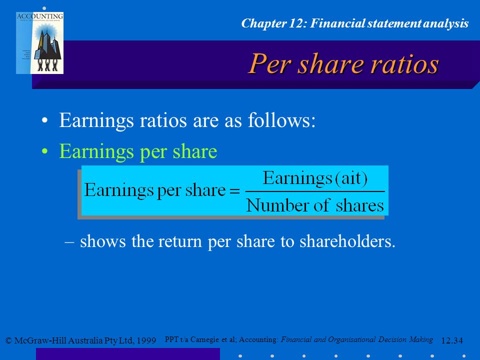 Per share ratios Earnings ratios are as follows: Earnings per share