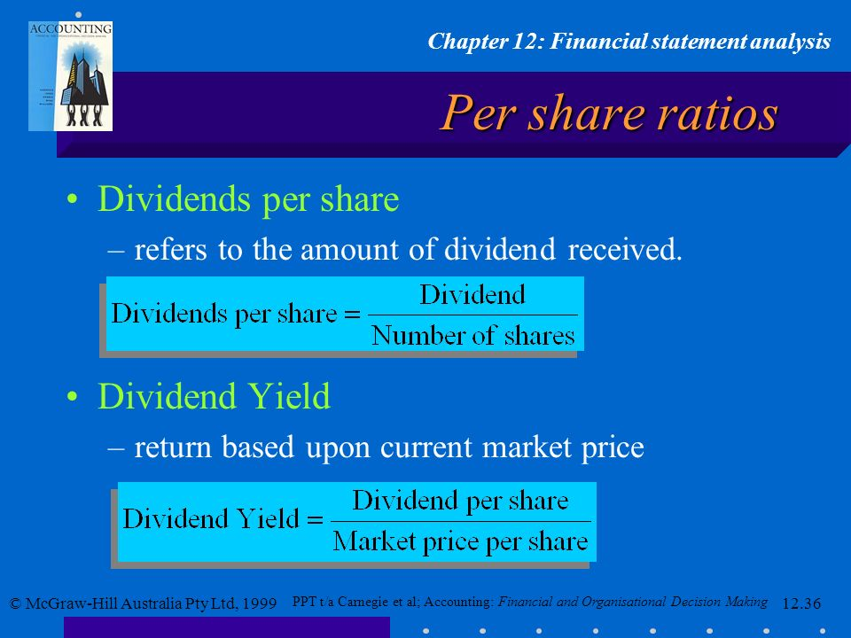 Per share ratios Dividends per share Dividend Yield