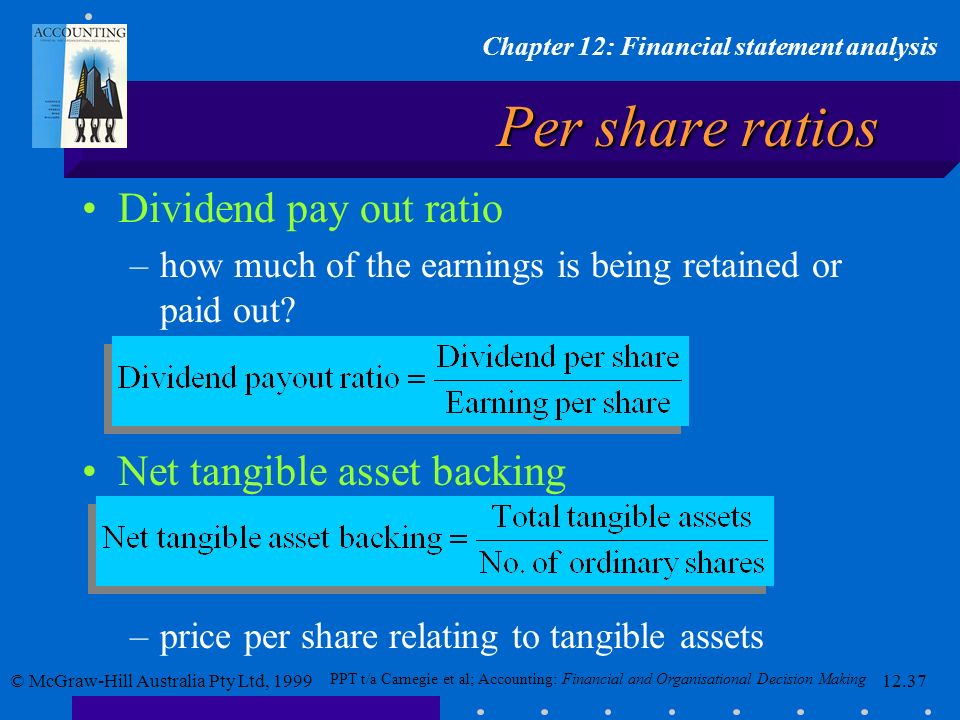 Per share ratios Dividend pay out ratio Net tangible asset backing