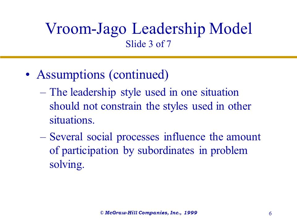 Vroom-Jago Leadership Model Slide 3 of 7