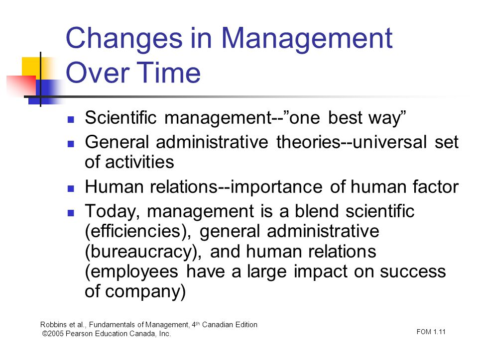 Changes in Management Over Time