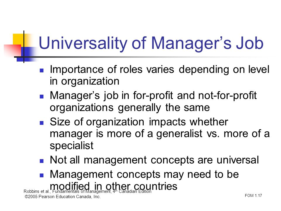 Universality of Manager's Job