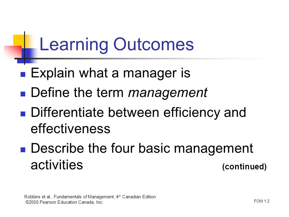 Learning Outcomes Explain what a manager is Define the term management