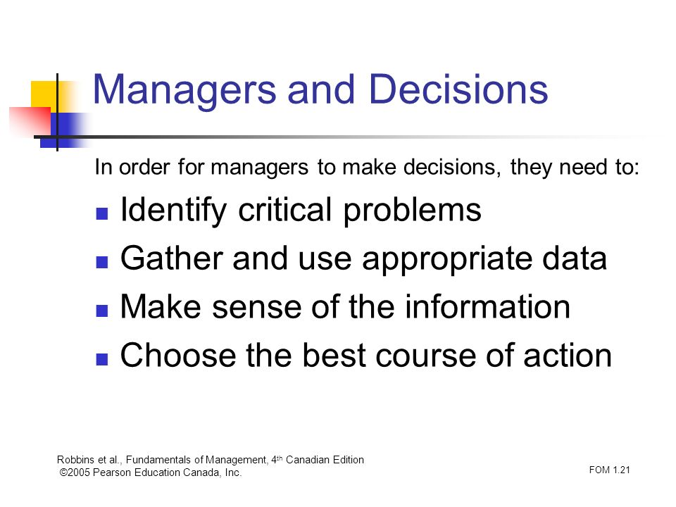 Managers and Decisions