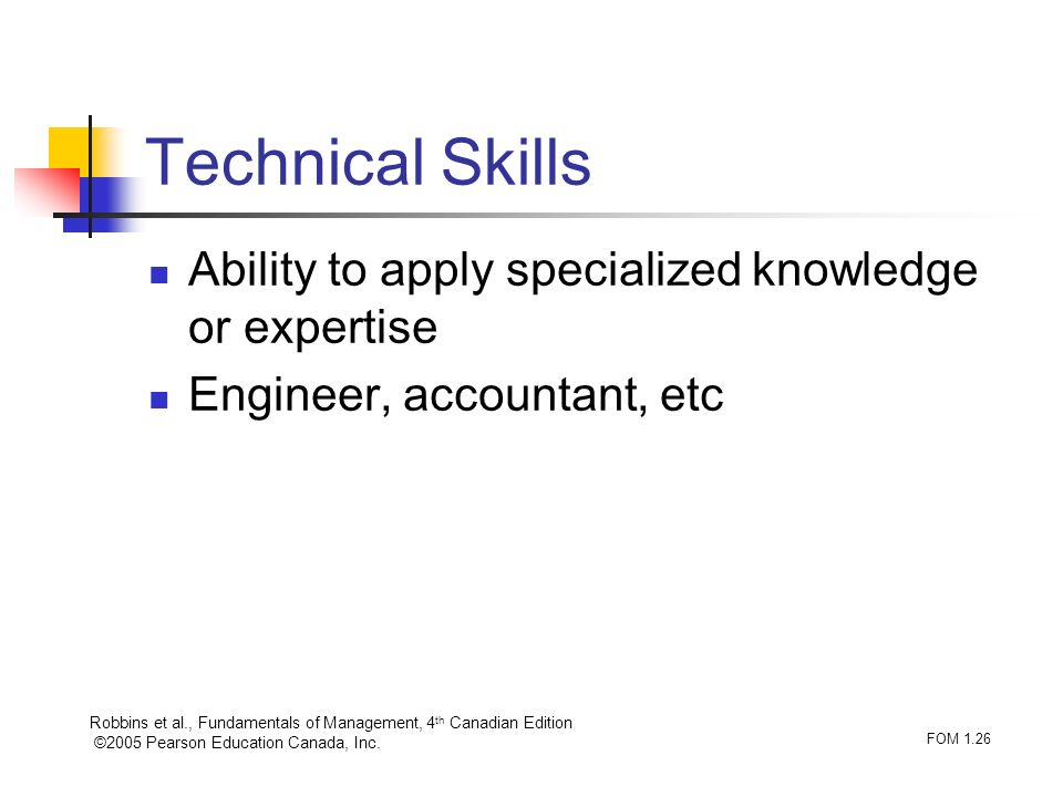 Technical Skills Ability to apply specialized knowledge or expertise