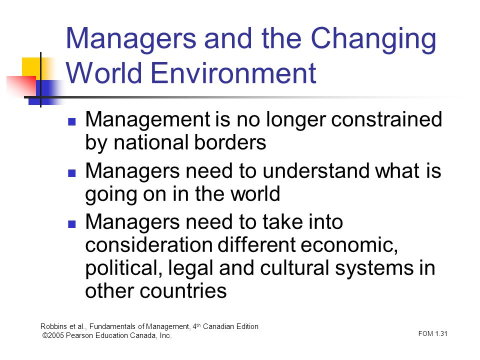 Managers and the Changing World Environment