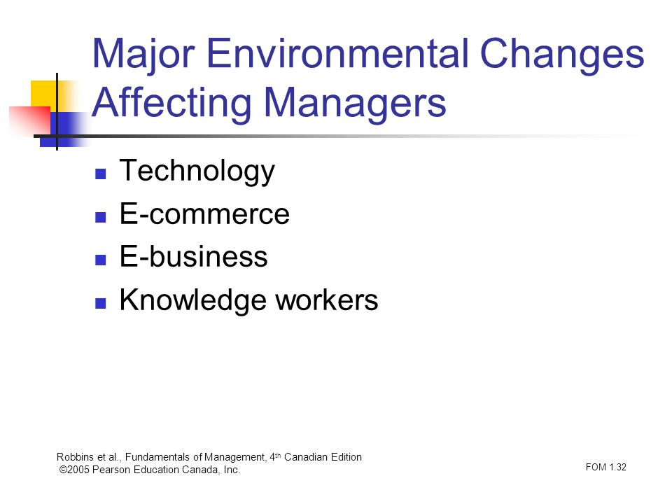 Major Environmental Changes Affecting Managers