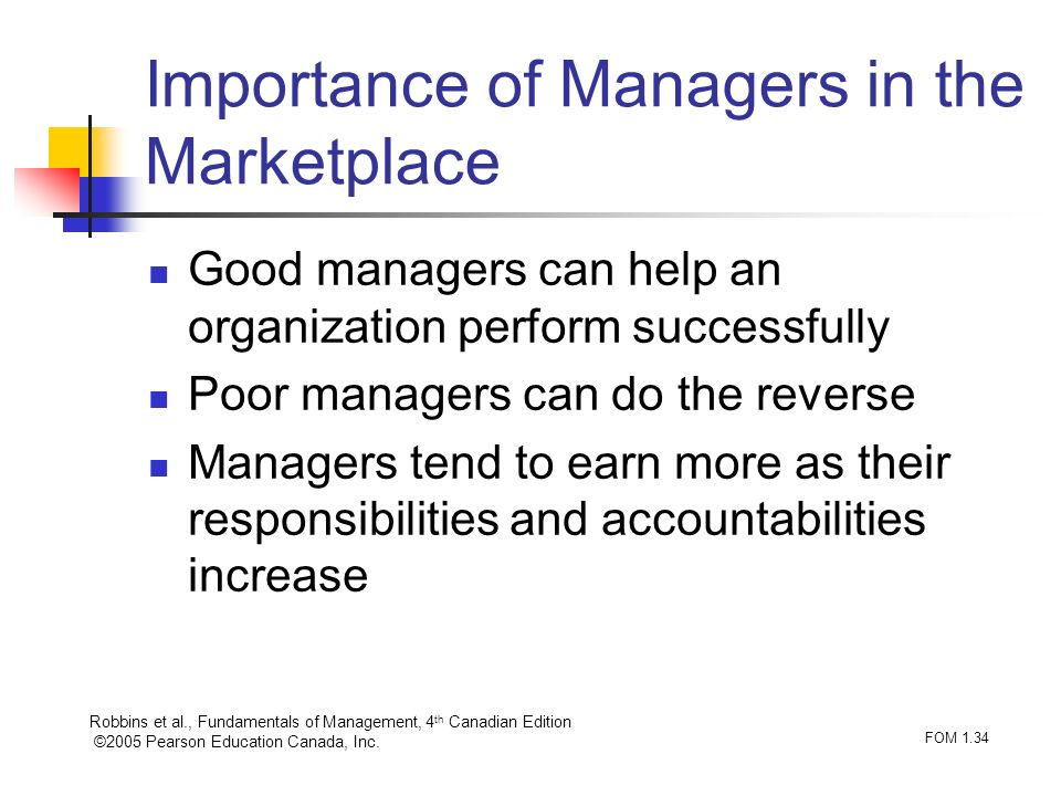 Importance of Managers in the Marketplace
