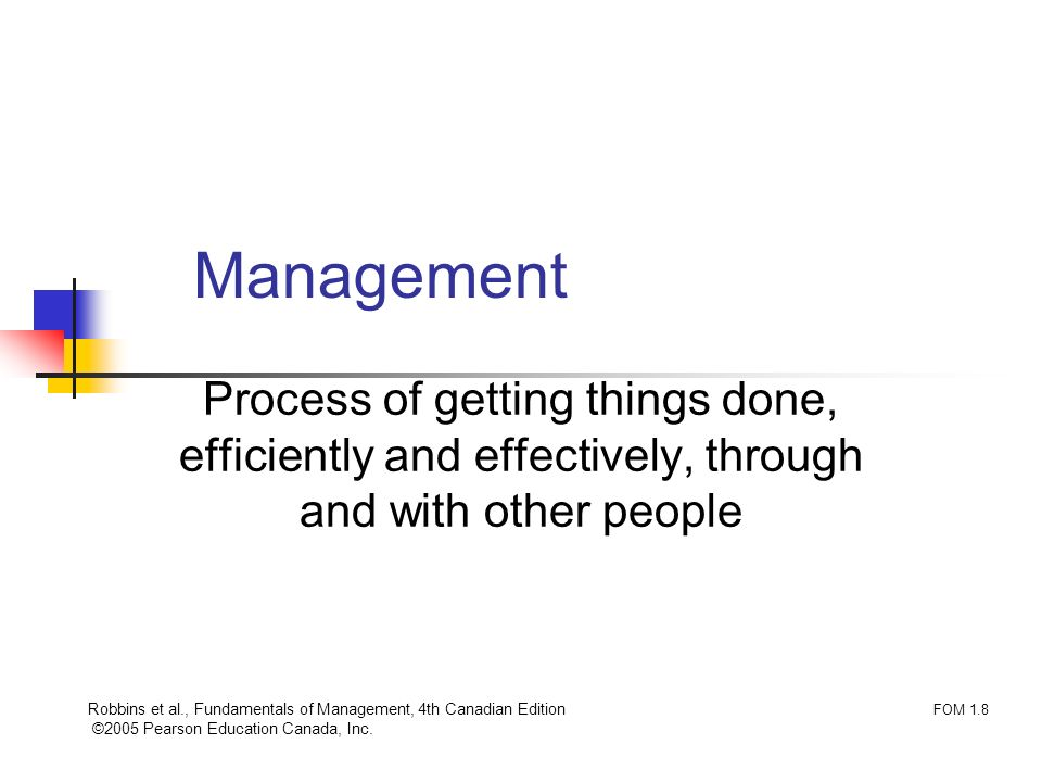 Management Process of getting things done, efficiently and effectively, through and with other people.