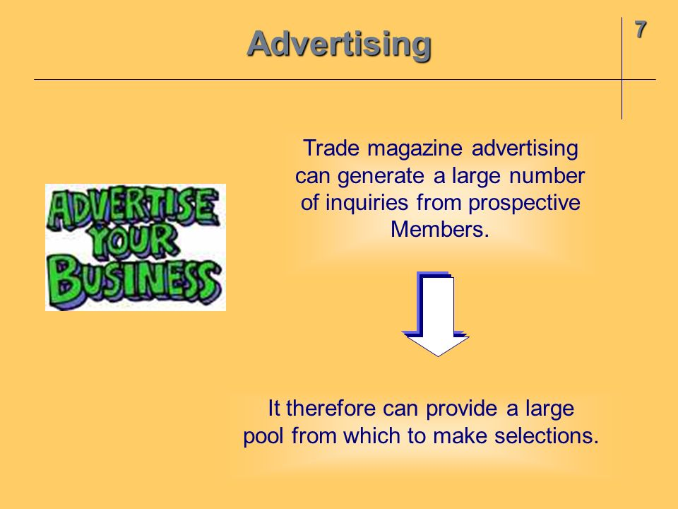 Advertising 7 Trade magazine advertising can generate a large number