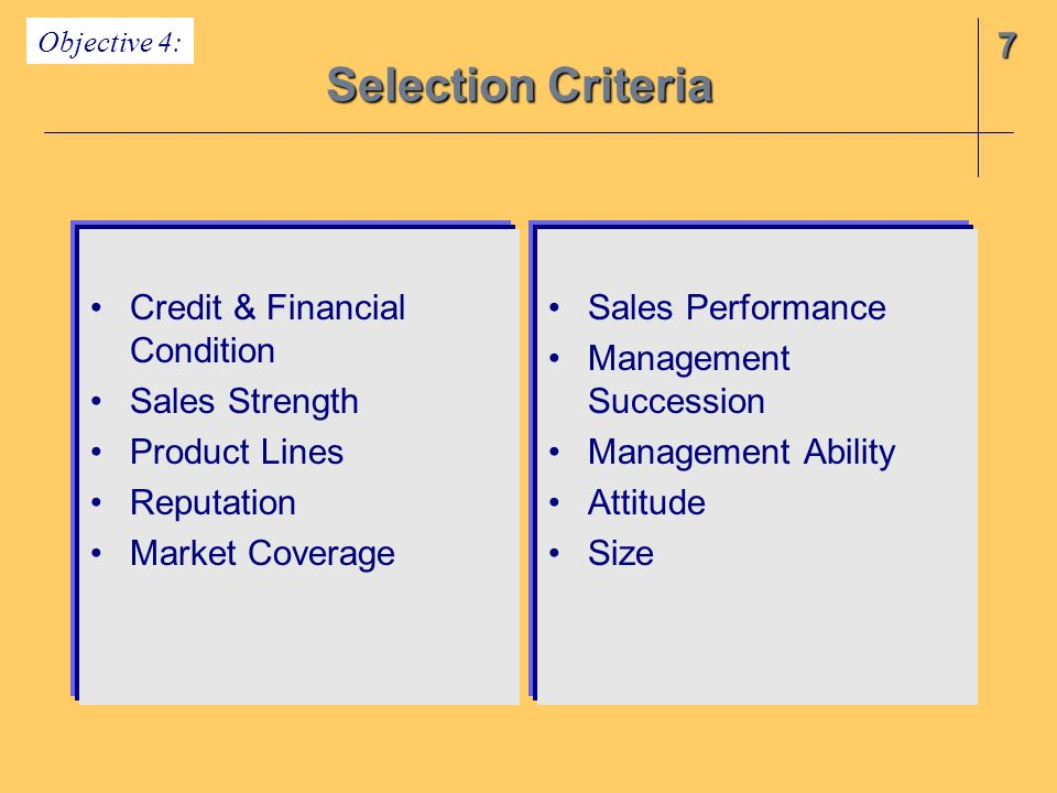 Selection Criteria 7 Credit & Financial Condition Sales Strength
