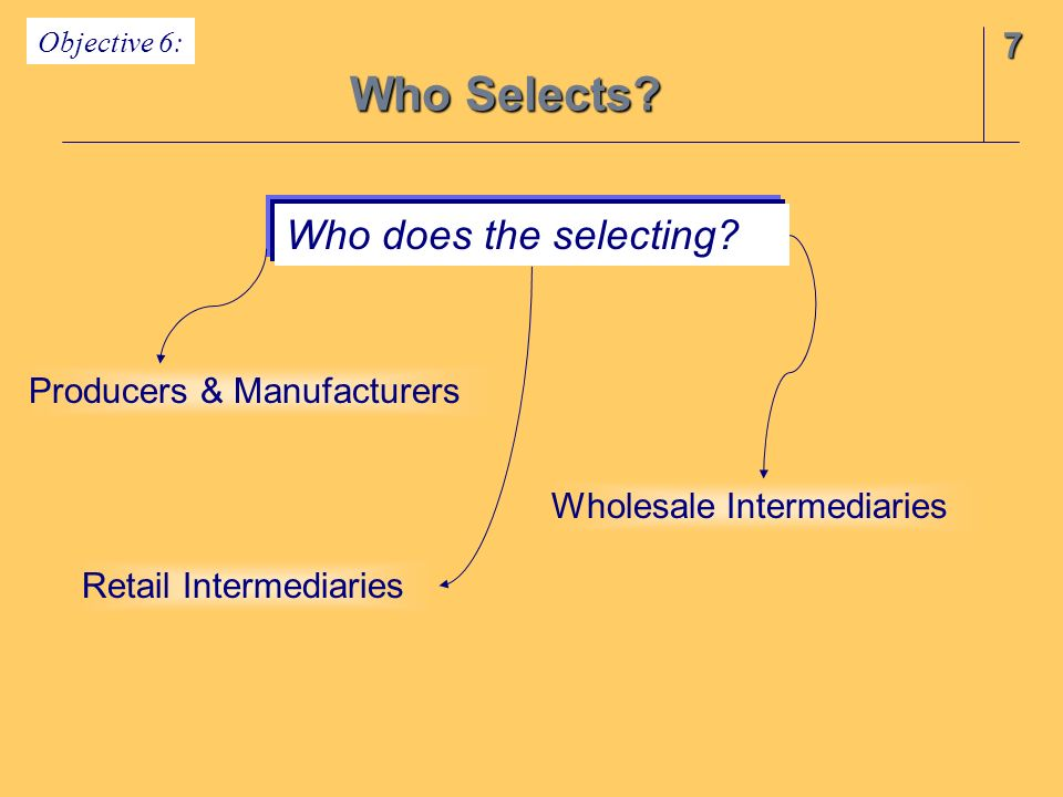 Who Selects Who does the selecting 7 Producers & Manufacturers