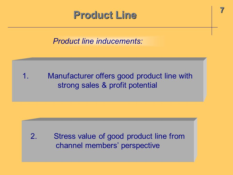 Product Line 7 Product line inducements: